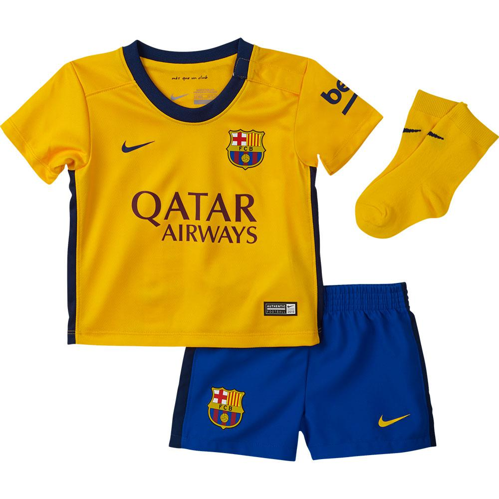 nike fc barcelona away kit 15 16 infant yellow goalinn nike fc barcelona away kit 15 16 infant