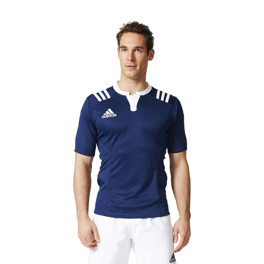 adidas 3 Stripes Mens Fitted Rugby Jerseys Sports Team Wear Football T-Shirt Top