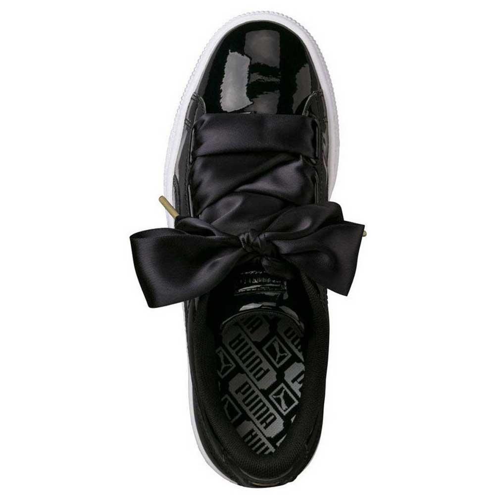 puma basket heart patent noir