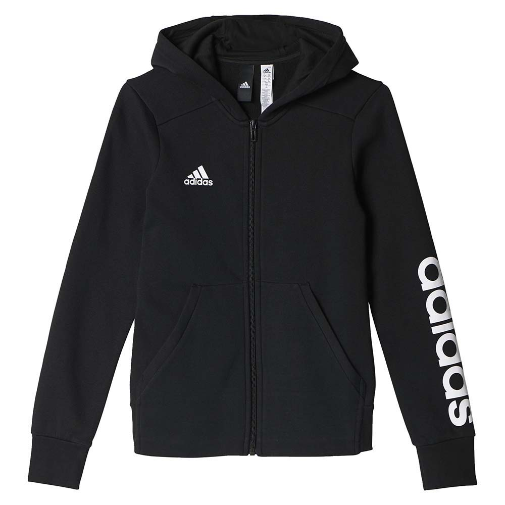 Sobrevivir solidaridad serie  adidas Essentials Linear Full Zip Hoodie Black, Goalinn