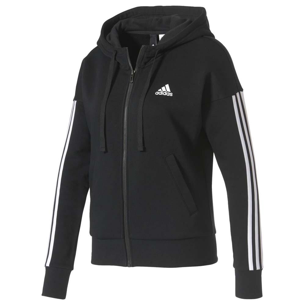 adidas Essentials 3 Stripes Full Zip Hoodie Czarny, Goalinn