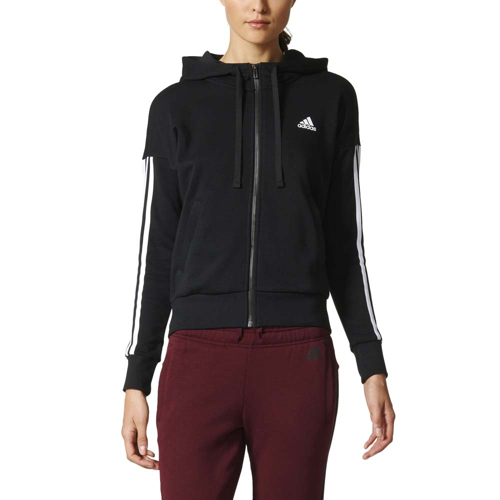 adidas Essentials 3 Stripes Full Zip Hoodie Svart, Goalinn