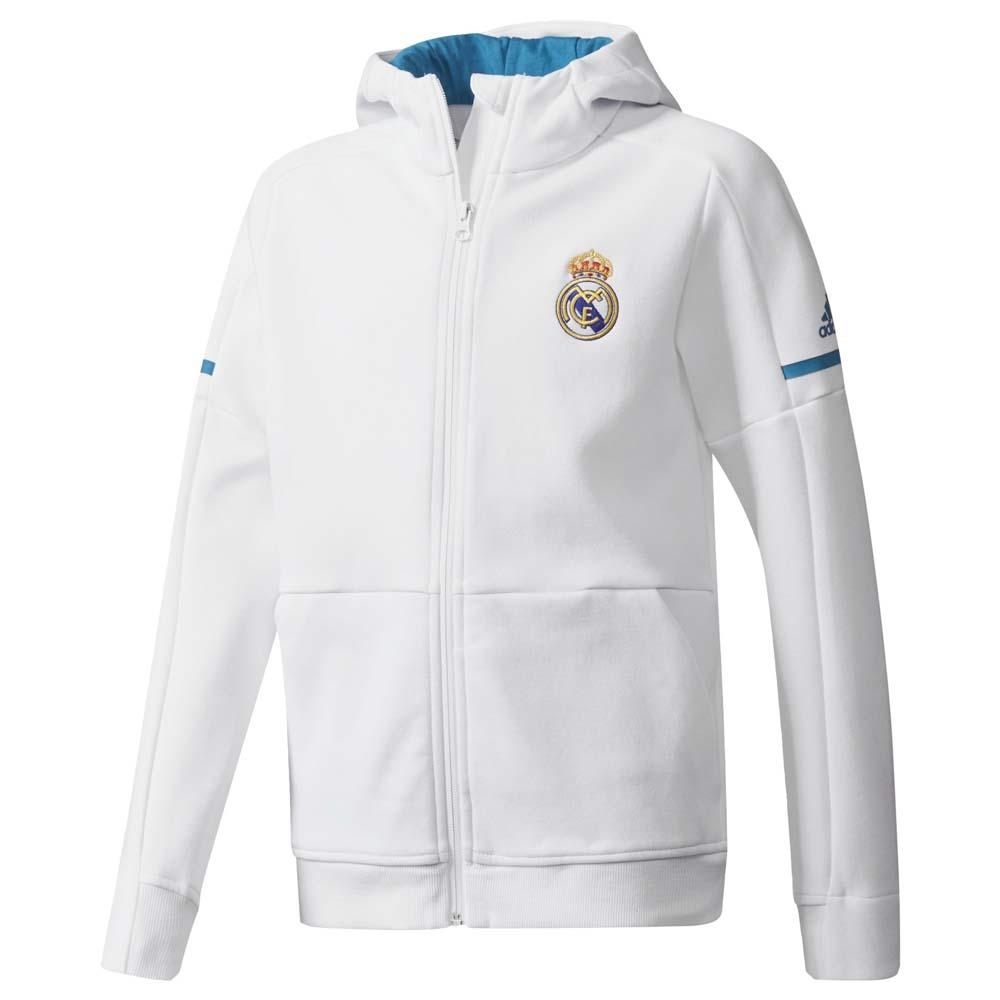 adidas Real Madrid Felpa con Cappuccio Ufficiale Bianca