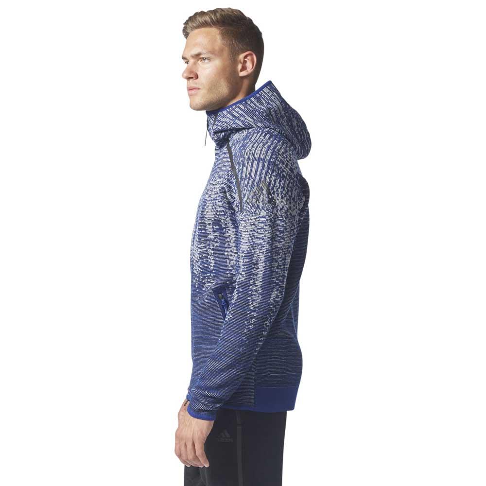 adidas Originals ZNE Pulse Knit Hoodie | Grå | Luvtröjor
