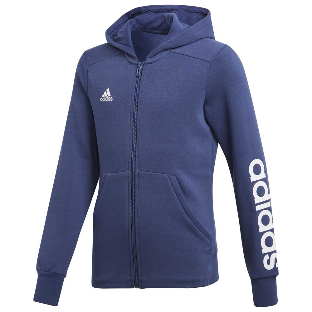 adidas Kids Girls 3 Stripe Zip Hoody Junior Hoodie Hooded Top Long Sleeve