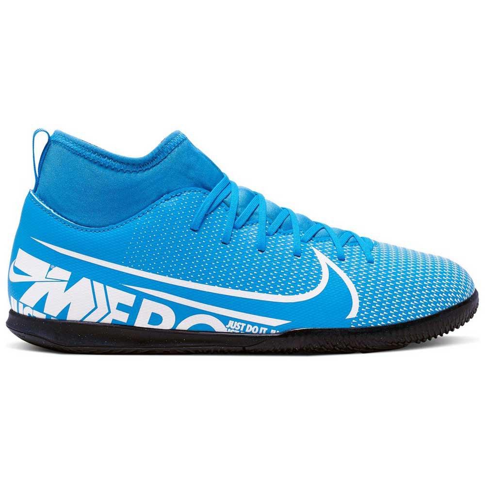 Chuteira Futsal Nike Mercurial Azul, Preto e Laranja